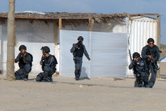 Yamam - Israel Special Central Unit. ASHDOD,ISR - SEP 09:Yamam unit simulate sea terror attack on Israeli beach on Sep 09 2007.It capable of both hostage-rescue stock photo