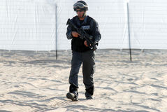 Yamam - Israel Special Central Unit. ASHDOD,ISR - SEP 09:Yamam unit simulate sea terror attack on Israeli beach on Sep 09 2007.It capable of both hostage-rescue royalty free stock photo