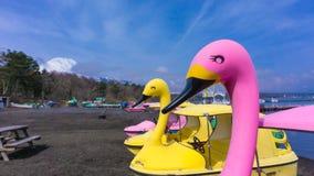 Yamanaka sjö med fartyg för för fuji monteringsbakgrund och svan Fotografering för Bildbyråer