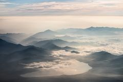 Yamanakako seen from the Top of Mt. Fuji in Japan stock photo