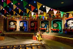 Thomas and friends at Fuji-Q Highland. Yamanashi, Japan - May 01, 2017: James, Spencer, Murdock, Thomas, Percy,Gordon stream engine trains and fat controller in Royalty Free Stock Photography