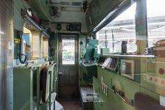 Yamanashi, Japan - September 30, 2016: Cockpit van Fujikyu-forenzentrein bij Otsuki-Post Stock Foto