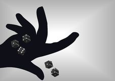 Yamb. Man with hand  rolling yamb dice Royalty Free Stock Photo