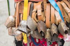 Yambol, Bulgaria - February 26, 2017 - Masquerade festival Kukerlandia -The International Festival of Masquerade Games. Mummers. K. Uker ringers. Cowbells Royalty Free Stock Images