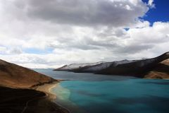Yamdrok Lake in Tibet Stock Photo