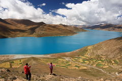 Yamdrok Lake in Tibet Royalty Free Stock Photos
