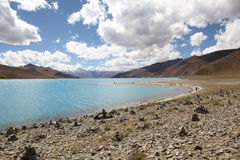 Yamdrok Lake, Tibet. Yamdrok Lake is a freshwater lake in Tibet. It is one of the three largest sacred lakes in Tibet Stock Photo
