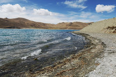 Yamdrok Tso Lake. A close view of Yamdrok Tso Lake. It is one of the three holy lakes in Tibet. It is located in Nagarze County, at an altitude of 4,441 meters Royalty Free Stock Image