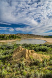 Yampa River flows through foothills Stock Images