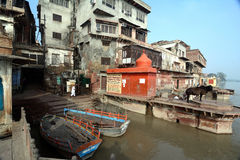 Yamuna flod: Ghats av Mathura Arkivfoton