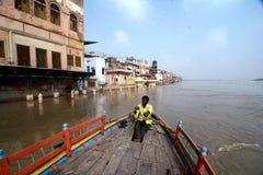 Yamuna flod: Ghats av Mathura Royaltyfri Bild