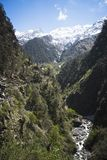 Yamuna flod på Yamunotri, Garhwal Himalayas, Uttarkashi Distric Arkivbild