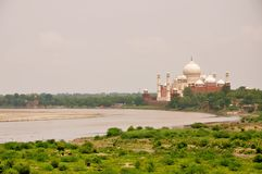 Yamuna by Taj. A view of the Taj Mahal by the Yamuna river in the morning hours Royalty Free Stock Photography