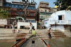 Yamunarivier: Ghats van Mathura Royalty-vrije Stock Afbeelding