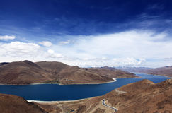 Yamzho Lake,Yamdrok Lake. It is said that a fairy maiden left the Heaven and became the lake on earth stock image