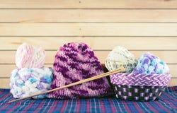 Yan balls with needles. Knitting yarn balls with needles Stock Photos