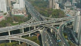Yan een ?Opgeheven Wegviaduct in Sunny Day Shanghai, China Lucht Mening stock videobeelden