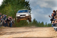 Yan Vedov drives a grey Lada car Royalty Free Stock Image
