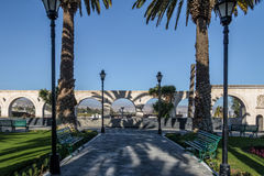 Yanahuara Plaza with the Arches on backgound - Arequipa, Peru Stock Image