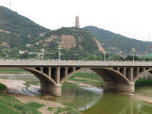 Yanan Pagoda and Yanhe bridge Stock Photos