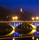 Yanan tower rainbow bridge night Royalty Free Stock Photos