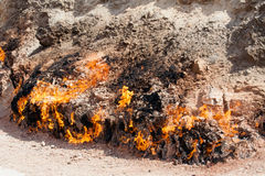 Yanar Dag - burning mountain. Azerbaijan. closeup Royalty Free Stock Photography