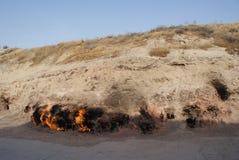 Yanar Dag Mountain, Absheron peninsula, Azerbaijan. This natural gas fire continuously blazes on a mountain in the Abseron peninsula in Azerbaijan. It has been royalty free stock photos
