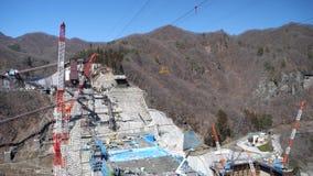 Yanba dam under construction. Gunma,Japan-March 17, 2018: Yanba Dam is a concrete gravity dam, which is under construction in Naganohara, Agatsuma District stock video