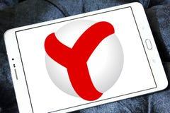 Yandex browser logo. Logo of yandex web browser on samsung tablet stock image