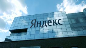 Yandex company building with logo at daytime. stock video footage