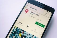 Yandex maps app on screen Xiaomi Redmi Note 4x. Yoshkar-Ola, Russia - Ocotber 2018 Yandex maps app on screen Xiaomi Redmi Note 4x screen. Depht of fields royalty free stock photography