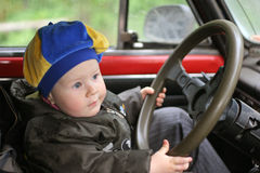 Yang driver. Boy in car Stock Photo