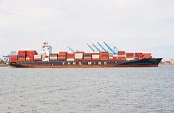 Yang Ming Cargo Container Ship Foto de archivo libre de regalías