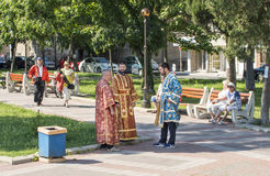 Yaung priests before the start of the Orthodox procession in Pomorie, Bulgaria. Pomorie - ancient Bulgarian seaside town famous discoveries of ancient Slavic stock image