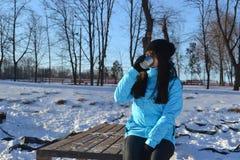Yang wooman drink tea Stock Photo