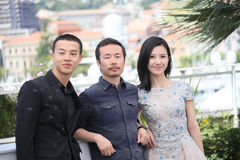 Yang Zishan, Li Ruijun, Yin Fang. Attend the `Walking Past The Future Lu Guo Wei Lai ` photocall during the 70th Cannes Film Festival at Palais des Festivals on stock images