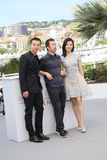 Yang Zishan, Li Ruijun, Yin Fang. Attend the `Walking Past The Future Lu Guo Wei Lai ` photocall during the 70th Cannes Film Festival at Palais des Festivals on royalty free stock photography