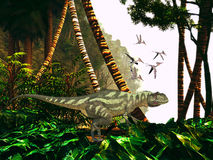 Yangchuanosaurus dans la jungle illustration stock