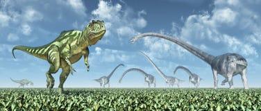 Yangchuanosaurus en Omeisaurus Royalty-vrije Stock Foto's