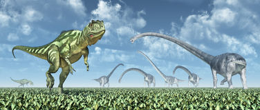 Yangchuanosaurus and Omeisaurus Royalty Free Stock Photos