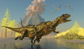 Yangchuanosaurusdinosaurussen stock illustratie
