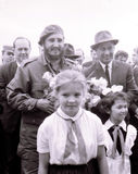 Yangiyer Castro en de meisjes Mei 1963 van Rashidov en van de pionier Royalty-vrije Stock Fotografie