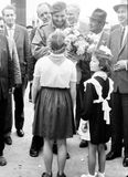 Yangiyer pioneer girls meet Fidel 1963 Royalty Free Stock Photo