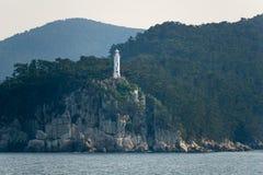 Yangjiam Chwi Light, The White octagonal cylindrical concrete lighthouse in South Korea royalty free stock photos