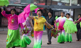 Yangko-A popular Chinese rural dance. Elders were performing Yangko, a popular Chinese rural folk dance, both for fun and health building. Performers usually Stock Images