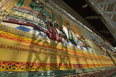 Yangon Bago buddha wall handcraft royalty free stock images