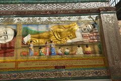 Yangon Bago lying buddha wall handcraft royalty free stock images