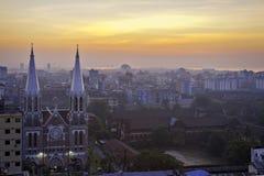 Yangon gryning arkivfoton