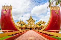 Yangon icon landmark and tourist attraction: Karaweik - replica Royalty Free Stock Photography
