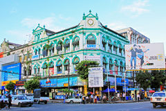 Yangon kolonial byggnad, Myanmar arkivbilder